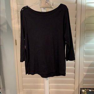 Black long sleeve shirt w/ button shoulders-#A311